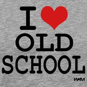 Heather grey i love old school by wam T-Shirts - Men's Premium T-Shirt