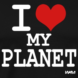 Black i love my planet by wam T-Shirts - Men's Premium T-Shirt