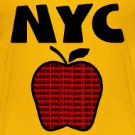 Design ~ KKT 'NYC, Big Apple With Boroughs, DIGITAL DIRECT' Kids' Tee, Yellow