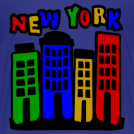 Design ~ KKT 'New York Multi-Color, 4 Brownstones' Kids' Tee, Turquoise