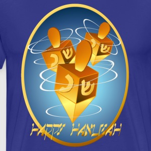 Framed Happy Hanukkah Dreidels - Men's Premium T-Shirt