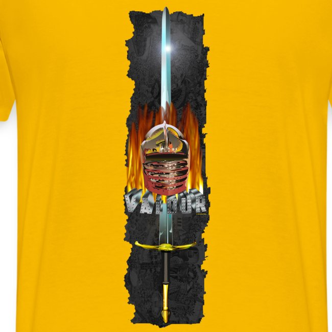Valour Helmet Sword and Fire Back T-shirt