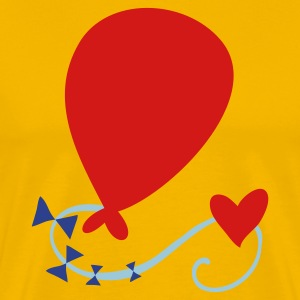Gold birthday balloon with love heart and tail T-Shirts - Men's Premium T-Shirt