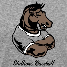 Heather grey Custom Mustang or stallion mascots T-Shirts