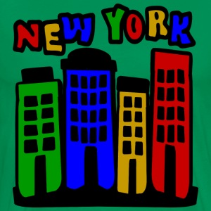 Forest green New York City Brownstones, 4 Color--DIGITAL DIRECT ONLY T-Shirts - Men's Premium T-Shirt