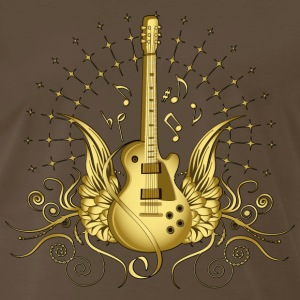 Chocolate Golden Winged Guitar T-Shirts - Men's Premium T-Shirt