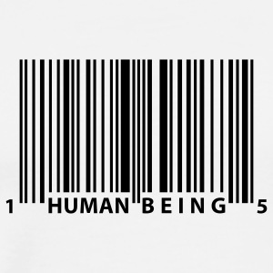 White barcode_human_being T-Shirts - Men's Premium T-Shirt