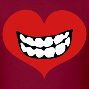 Burgundy love heart with toothy smile T-Shirts - Men's T-Shirt