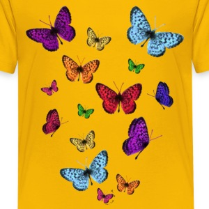 Yellow Rainbow Butterflies Kids' Shirts - Kids' Premium T-Shirt