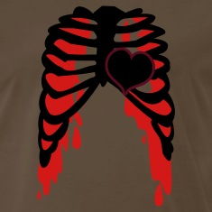 Brown rib cage with love heart metal shirt T-Shirts