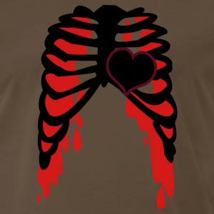 Brown rib cage with love heart metal shirt T-Shirts - Men's Premium T-Shirt