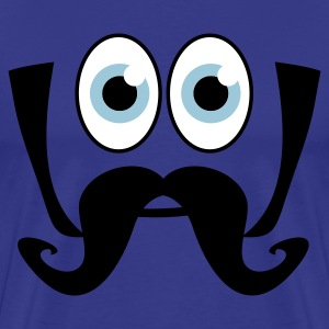 Royal blue smiling face big eyes moustache T-Shirts - Men's Premium T-Shirt