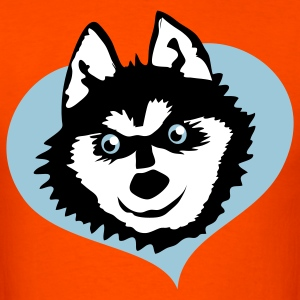 Orange Siberian husky face smile on love heart cute! T-Shirts - Men's T-Shirt