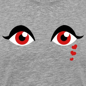 Heather grey cool eyes with love heart tears T-Shirts - Men's Premium T-Shirt
