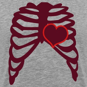 Heather grey rib cage with love heart T-Shirts - Men's Premium T-Shirt