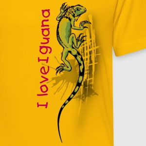 I love Green Iguana Kids - Yellow - Kids' Premium T-Shirt