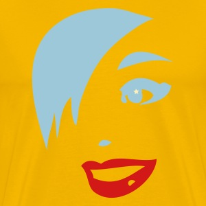 Gold woman with funky hair and lipstick T-Shirts - Men's Premium T-Shirt