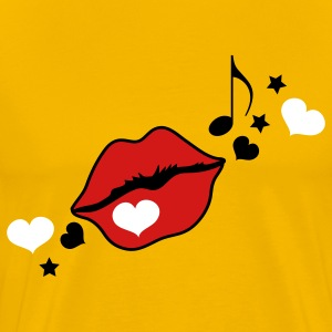 Gold pouty lips with music and stars T-Shirts - Men's Premium T-Shirt