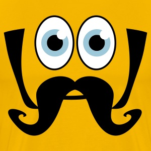 Gold smiling face big eyes moustache T-Shirts - Men's Premium T-Shirt