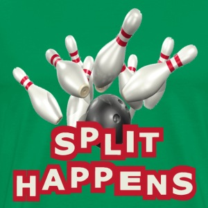 Kelly green Bowling Split Happens T-Shirts - Men's Premium T-Shirt