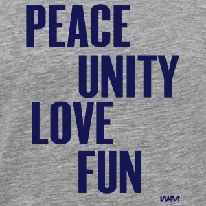 Heather grey peace unity love fun( zulu nation ) by wam T-Shirts - Men's Premium T-Shirt