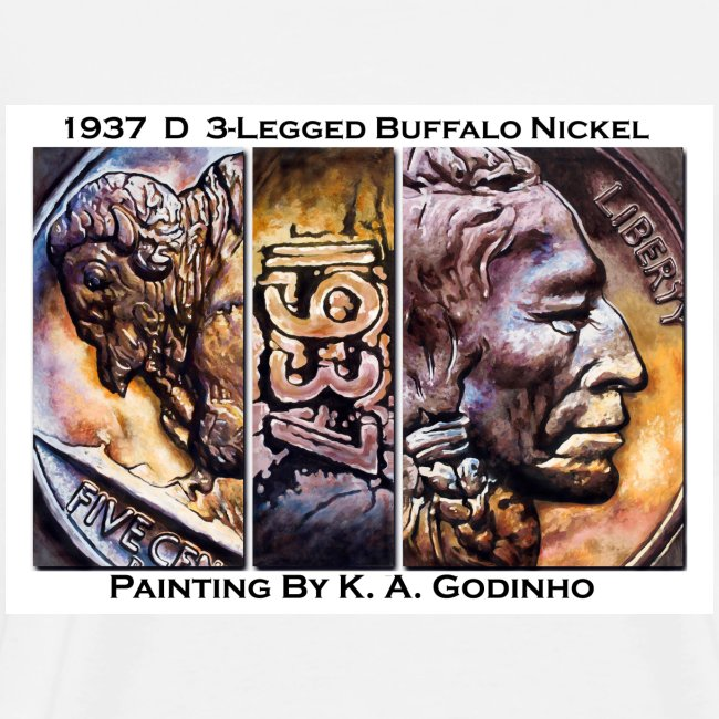 1937 D 3_Leg Buffalo Nickel Men's T-shirt