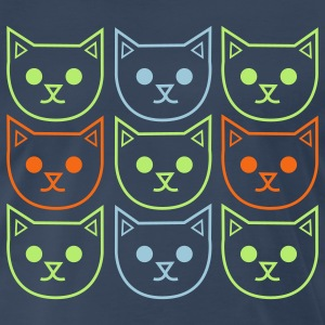 Navy nine cats adndy warhol style T-Shirts - Men's Premium T-Shirt