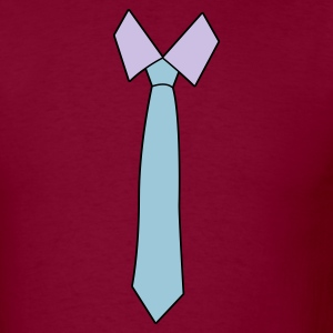 Burgundy simple neck tie T-Shirts - Men's T-Shirt