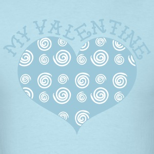 Sky blue MY VALENTINE heart with swirls T-Shirts - Men's T-Shirt