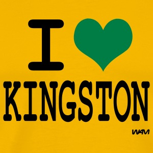 Yellow i love kingston by wam T-Shirts - Men's Premium T-Shirt