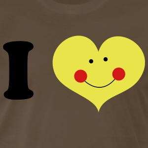 Brown i heart with cute smile and rosy cheeks T-Shirts - Men's Premium T-Shirt