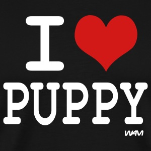 Black i love puppy by wam T-Shirts - Men's Premium T-Shirt