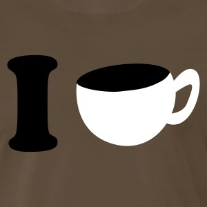 Brown i heart coffee cup T-Shirts - Men's Premium T-Shirt