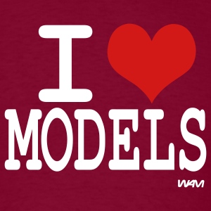 Burgundy i love models by wam T-Shirts - Men's T-Shirt