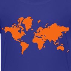 Turquoise World Map Kids' Shirts