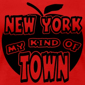Red New York, My Kind Of Town With Apple, 1 Color Plus Size - Women's Premium T-Shirt