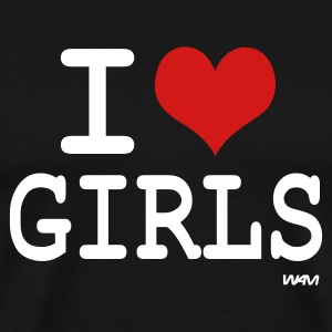 Black i love girls by wam T-Shirts - Men's Premium T-Shirt