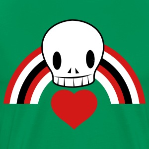 Kelly green Punky EMO skull with heart and rainbow cool! T-Shirts - Men's Premium T-Shirt