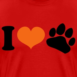 Red i heart love paws dog lover T-Shirts - Men's Premium T-Shirt