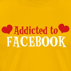 Gold ADDICTED TO FACEBOOK with love hearts T-Shirts - Men's Premium T-Shirt