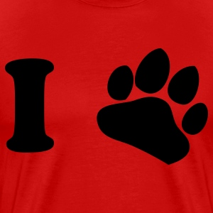 Red i heart paw dog lover T-Shirts - Men's Premium T-Shirt