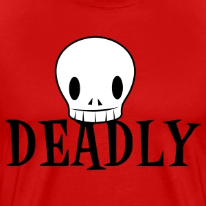 Red DEADLY with very cute skull emo T-Shirts - Men's Premium T-Shirt