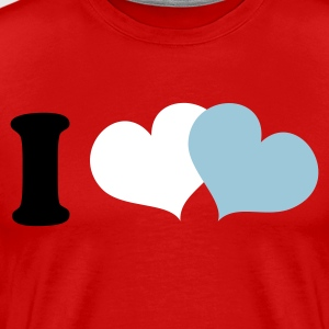 Red i heart double love hearts Men and ladies T-Shirts - Men's Premium T-Shirt