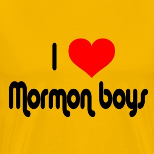 Yellow I Love Mormon Boys T-Shirts - Men's Premium T-Shirt
