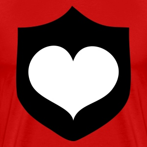 Red heart on a medieval shield T-Shirts - Men's Premium T-Shirt