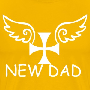 Gold cool square cross with curly angel wings T-Shirts - Men's Premium T-Shirt