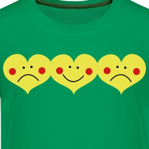 Kelly green THREE HEARTS TOGETHER smiling and frowning cute ! Kids' Shirts - Kids' Premium T-Shirt