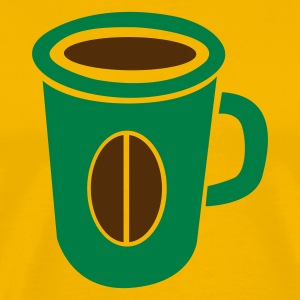 Gold green coffee cup with bean funky T-Shirts - Men's Premium T-Shirt
