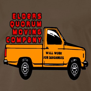 Chocolate Elders Quorum Moving Company LDS Mormon T-Shirts - Men's Premium T-Shirt