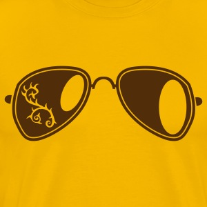 Gold fancy aviator glasses with curly thorns T-Shirts - Men's Premium T-Shirt